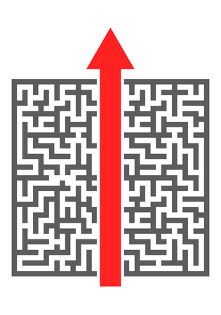 cutting through: red arrow cutting through a complicated maze, eps10 vector illustration
