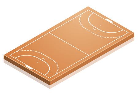 terrain de handball: illustration détaillée d'un terrain de handball avec une perspective isométrique, vecteur eps10