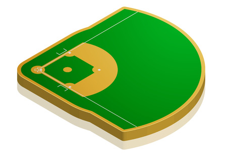 detailed illustration of a baseball field with isometric perspective, eps10 vector Illustration