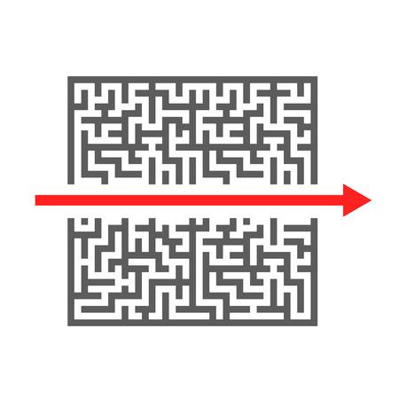 laberinto: rojo de corte flecha a trav�s de un laberinto complicado, ilustraci�n vectorial eps10 Vectores