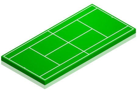 hard court: detailed illustration of a tennis court with isometric perspective, eps10 vector Illustration