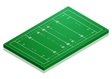 rugby field: detailed illustration of a rugby field with isometric perspective, eps10 vector