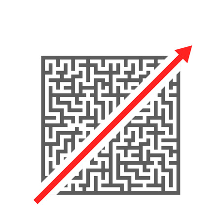 solved maze puzzle: red arrow cutting through a complicated maze, eps10 vector illustration