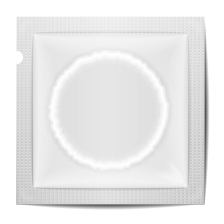 condom: detailed illustration of a blank condom wrapping template, eps10 vector Illustration