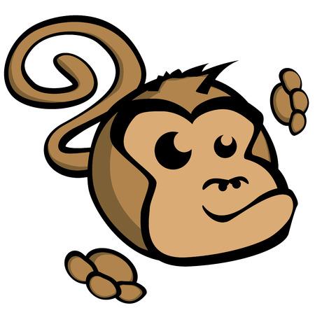 monkey face: detailed illustration of cartoon style monkey face, eps10 vector