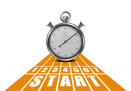 win: detailed illustration of a start track in perspective view with a stop watch, eps10 vector