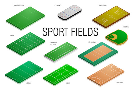 football kick: detailed illustration of different sport fields and courts, eps10 vector