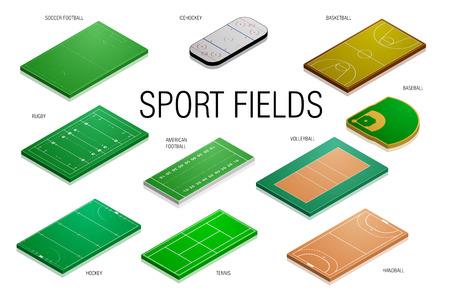 campo calcio: illustrazione dettagliata di campi sportivi e tribunali diversi, eps10 vettore