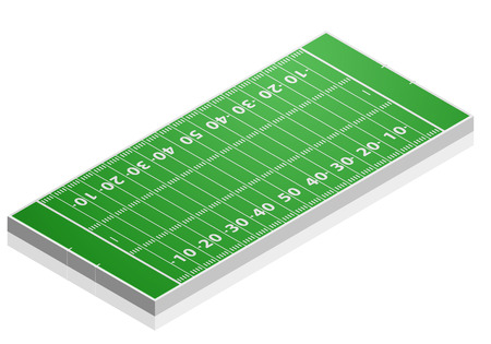 winning pitch: detailed illustration of a American Football field with isometric perspective, eps10 vector