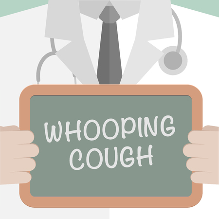 whooping: minimalistic illustration of a doctor holding a blackboard with Whooping Cough text, eps10 vector