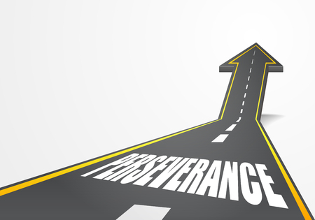 persevere: detailed illustration of a highway road going up as an arrow with Perseverance text,  Illustration