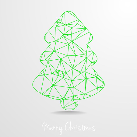 christmas tree illustration: detailed illustration of polygonal christmas Tree,