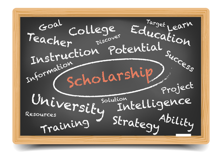sponsoring: detailed illustration of a Scholarship wordcloud on a blackboard, gradient mesh included