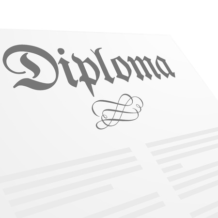 doctorate: detailed illustration of a Diploma letter,