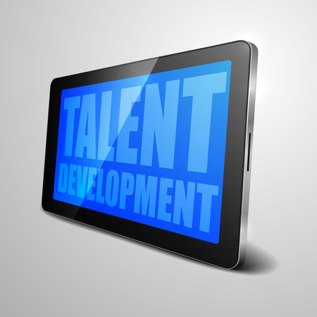 computer device: detailed illustration of a tablet computer device with Talent Developement text,