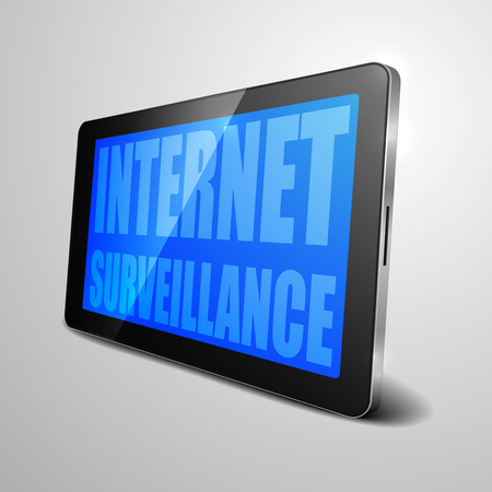 computer device: detailed illustration of a tablet computer device with Internet Surveillance text, Illustration