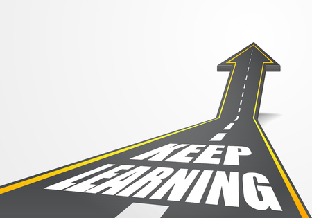 keep up: detailed illustration of a highway road going up as an arrow with Keep Learning text,