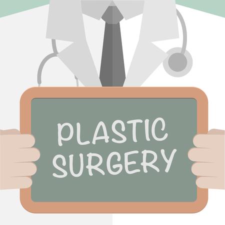 minimalistische illustratie van een arts die een bord met Plastic Surgery tekst, Stock Illustratie
