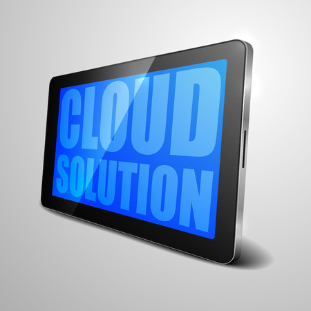 cloud computer: detailed illustration of a tablet computer device with Cloud Solution text, Illustration