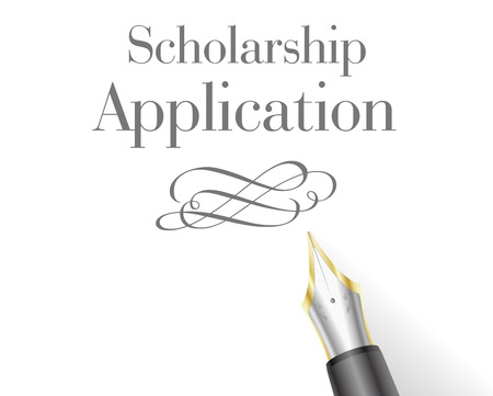 scholarship: illustration of a Scholarship Application with fountain pen