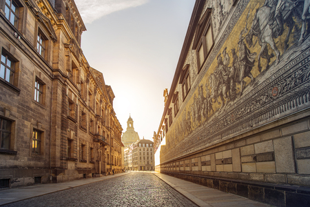 historic: city center of Dresden, Germany, with historic buildings and the Fuerstenzug (Procession of Princes), a giant mural
