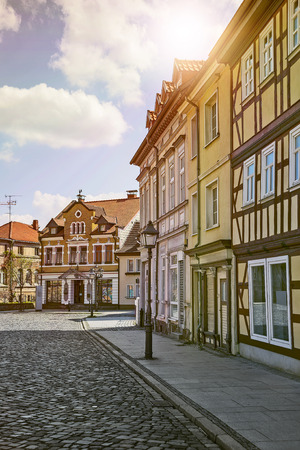 timbered: street in a german town with half timbered houses on a sunny day