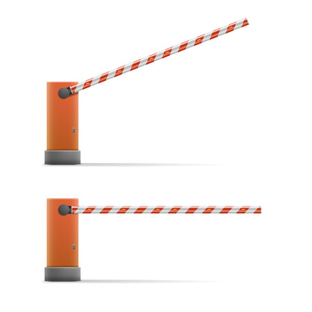 security barrier: detailed illustration of open and closed car barriers,   vector Illustration