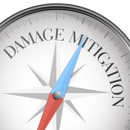 dangers: detailed illustration of a compass with Damage Mitigation text,   vector