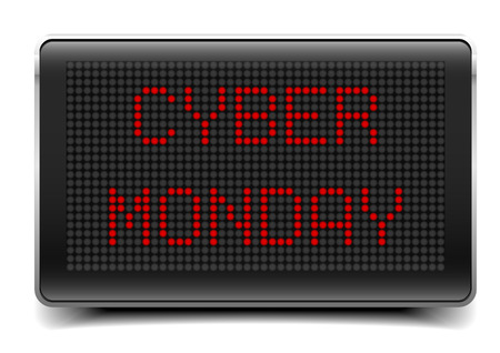 retail display: detailed illustration of a LED Panel with Cyber Monday text,   vector
