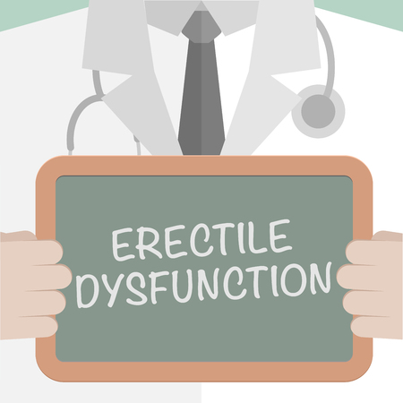 erectile: minimalistic illustration of a doctor holding a blackboard with Erectile Dysfunction text,   vector
