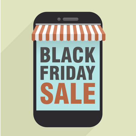 minimalistic illustration of mobile phone store with black friday sale text,   vector