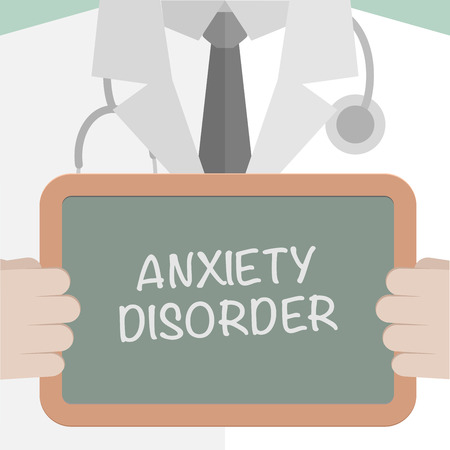 worry tension: minimalistic illustration of a doctor holding a blackboard with Anxiety Disorder text,   vector