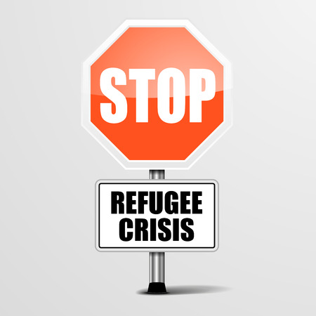 migrant: detailed illustration of a red stop Refugee Crisis sign,   vector