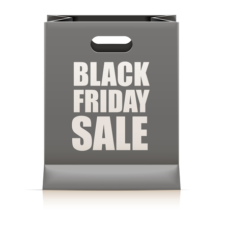 paperbag: detailed illustration of a black paperbag with black friday sale text,   vector