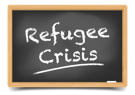refugee: detailed illustration of a blackboard with Refugee Crisis text,   vector, gradient mesh included Illustration