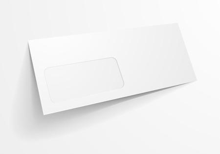 envelopes: detailed illustration of a blank envelope with window mockup template, eps10 vector Illustration