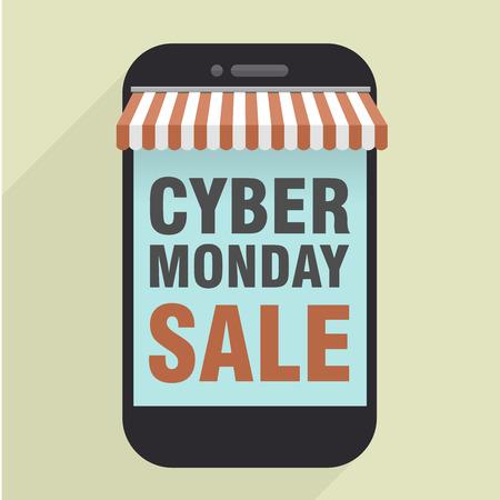 fiestas electronicas: ilustración minimalista de tienda de teléfonos móviles con el Cyber ??Monday venta texto, vector