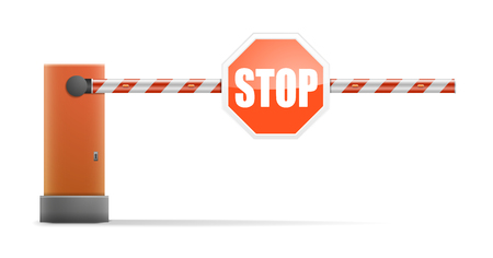 entrance is forbidden: detailed illustration of a car barrier with stop sign,   vector Illustration