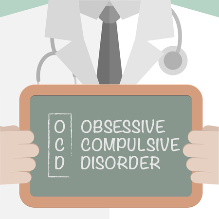 obsessive compulsive: minimalistic illustration of a doctor holding a blackboard with OCD term explanation,   vector
