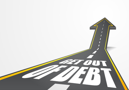 get out: detailed illustration of a highway road going up as an arrow with Get out of Debt  text,   Illustration