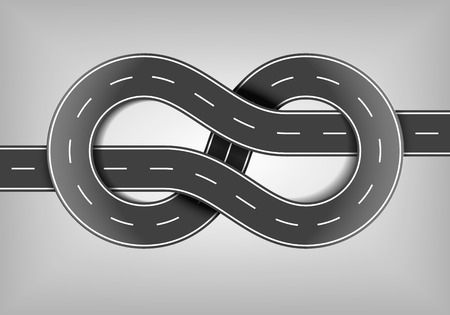 autobahn: detailed illustration of a highway road bungle shaped like a knot,   vector
