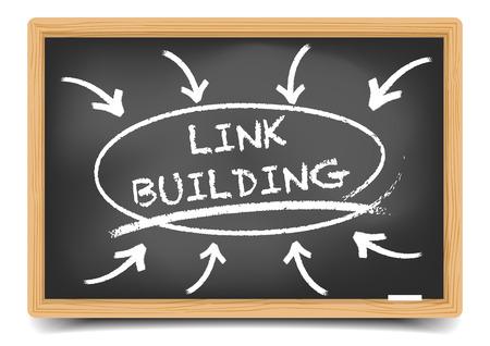 building sketch: detailed illustration of a blackboard with a Link Building focus sketch,   vector, gradient mesh included Illustration