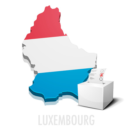 elect: detailed illustration of a ballotbox in front of a map of Luxembourg,   vector