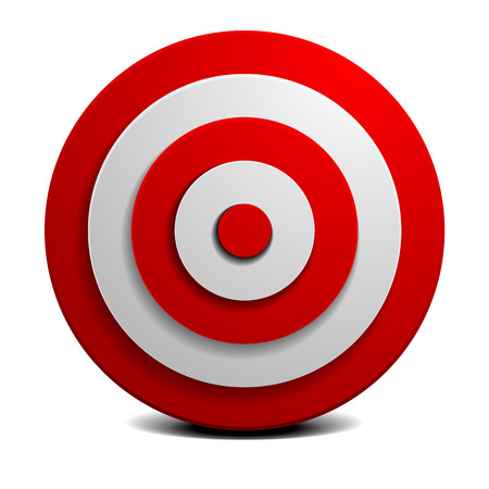 gedetailleerde illustratie van een rood en wit doel, vector