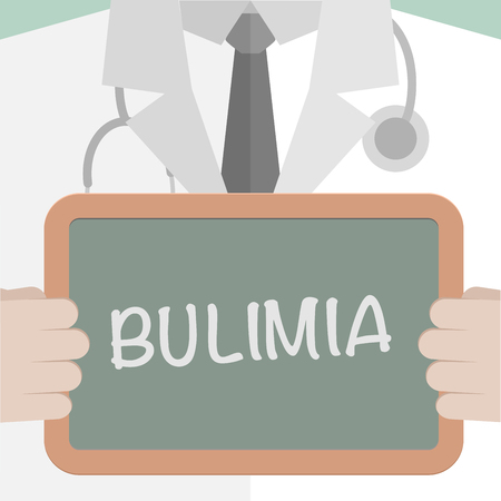 bulimia: minimalistic illustration of a doctor holding a blackboard with Bulimia text,   vector