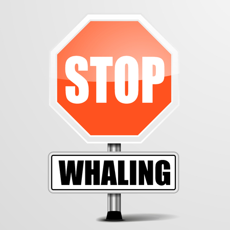 whaling: detailed illustration of a red stop whaling sign,   vector