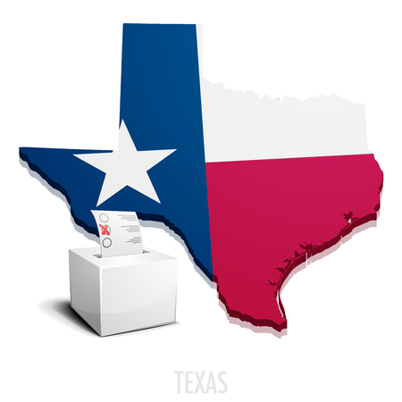 houston flag: detailed illustration of a ballotbox in front of a map of Texas,   vector Illustration
