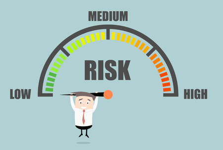financial risk: detailed illustration of a person hanging on a risk meter,   vector