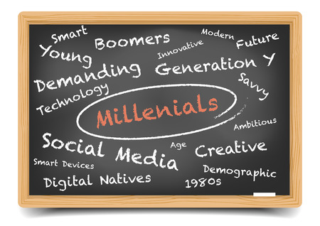 detailed illustration of a Millenials wordcloud on a blackboard,   vector, gradient mesh included Vectores