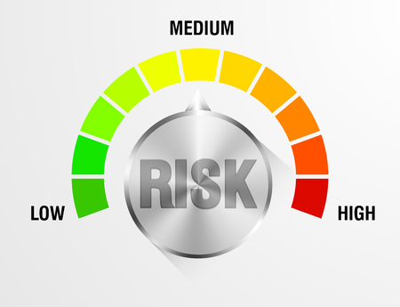 investing risk: detailed illustration of a risk meter,  vector